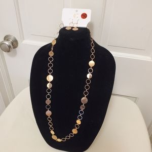 NWT Charming Charlie Rosegold necklace & earrings